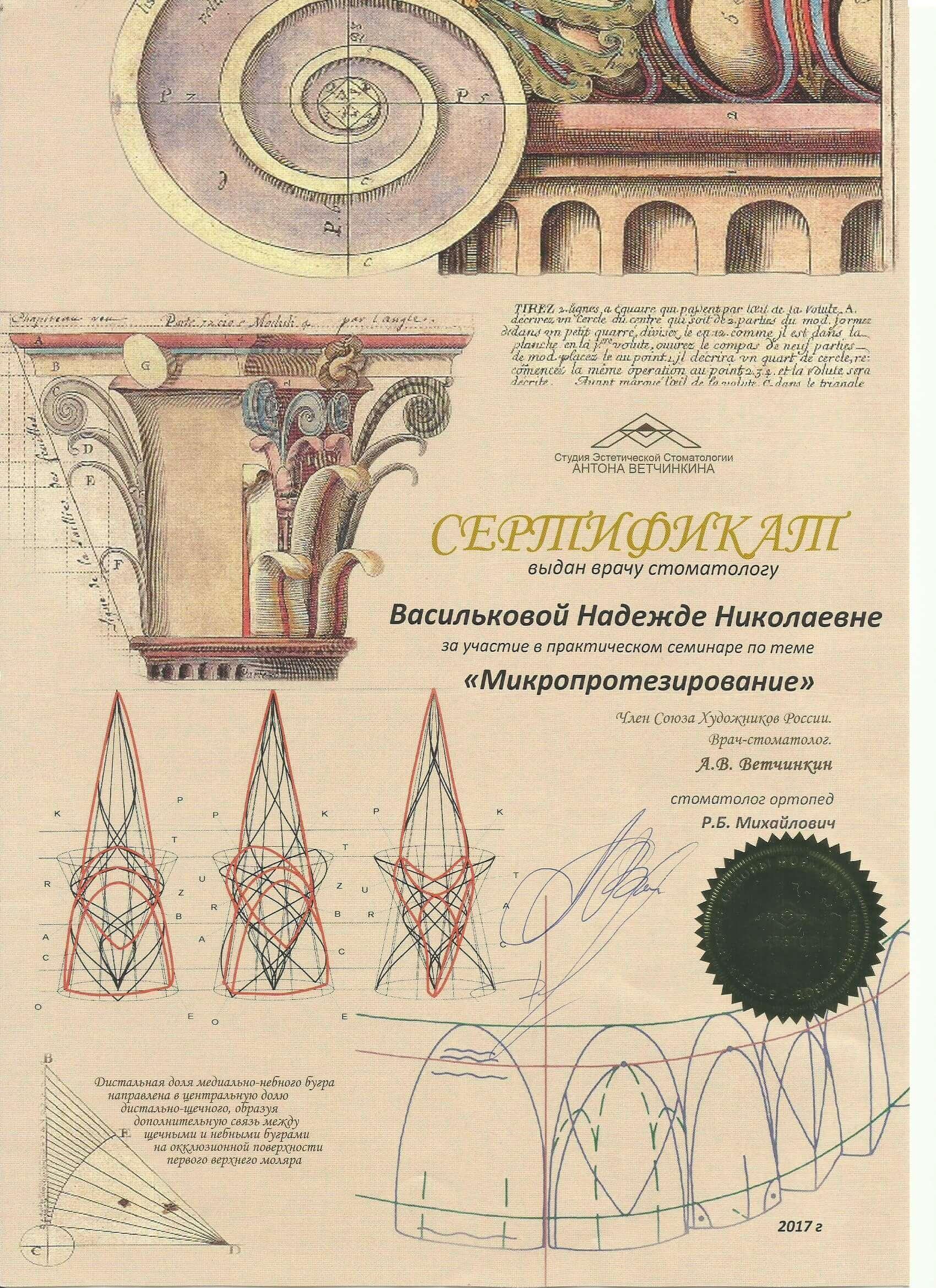 Сертификат 2017 Ветчинкин Микропротезирование