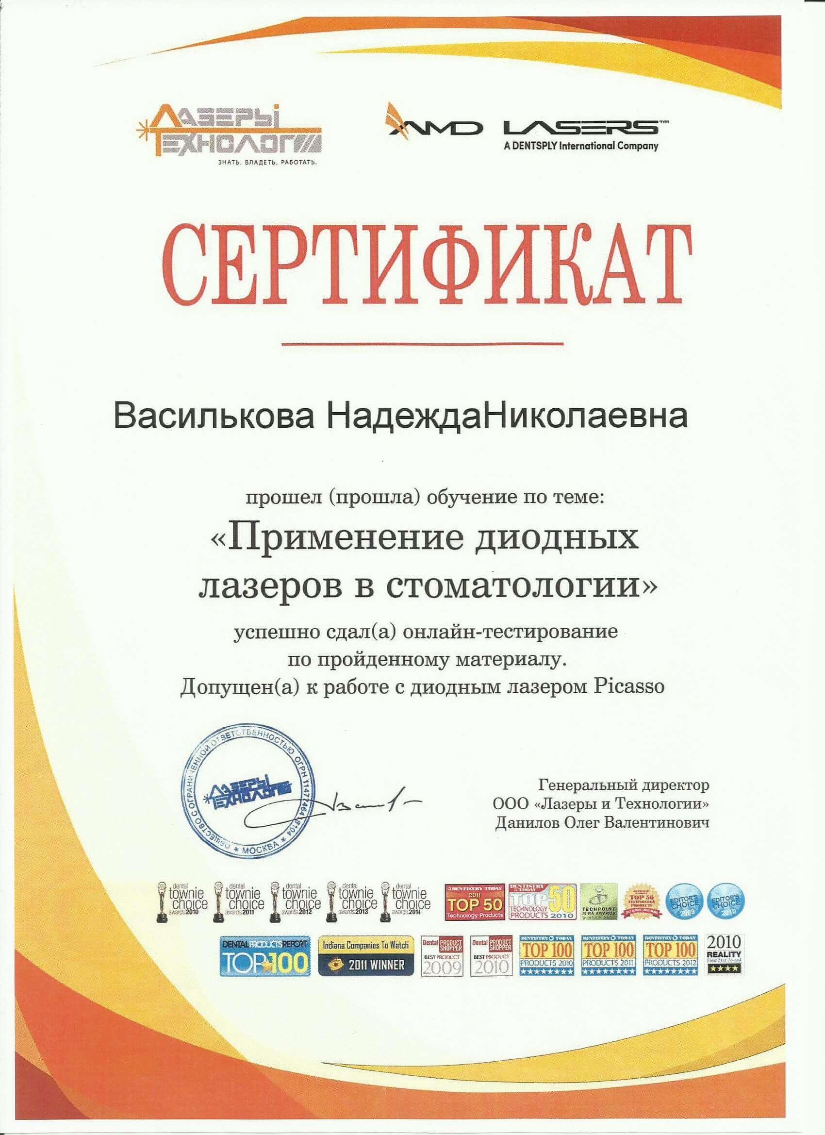Сертификат Лазер